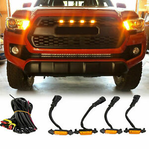 4X-Raptor-Style-Amber-Lens-Grille-LED-Lights-For-2016-2021-Toyota-Tacoma-Pro