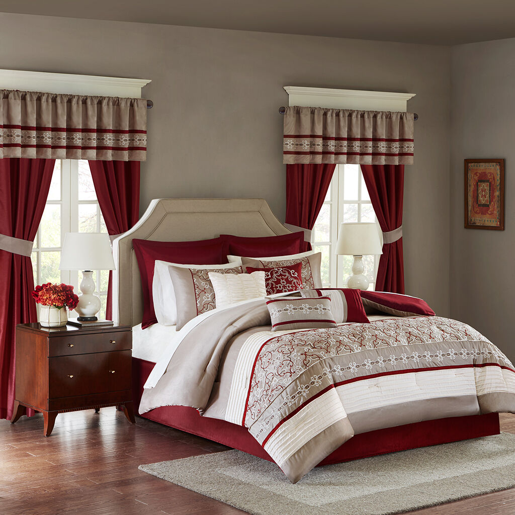 Elegant rot Weiß Taupe Embroiderot Comforter Windows Curtains 24 pcs Set