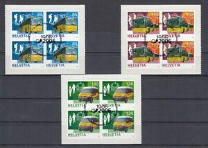 Switzerland-1956-58-Postautobusse-Block-of-Four-Set-Oo