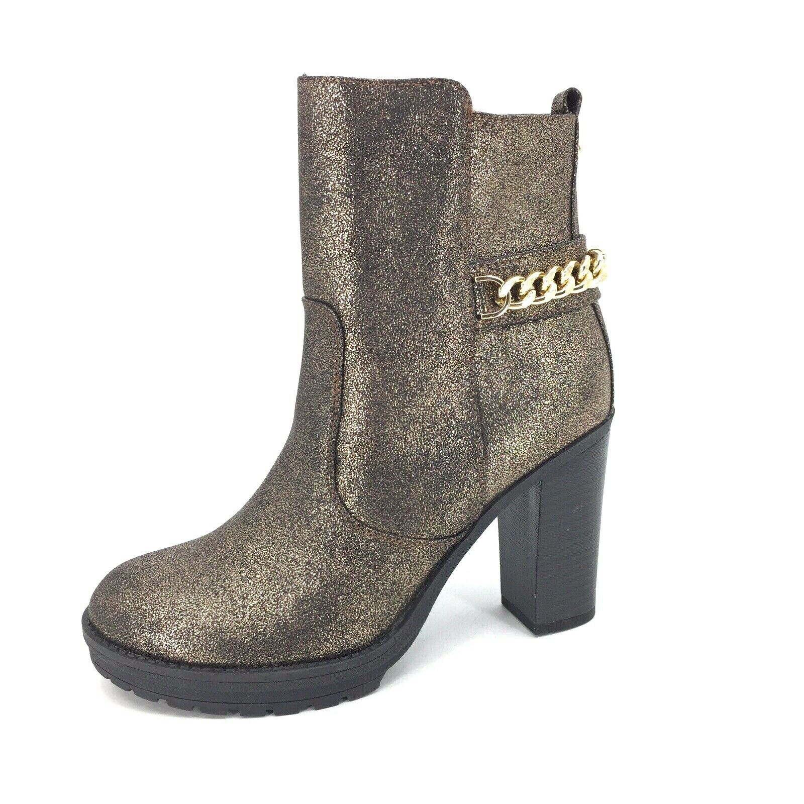 G by Guess Greedy Womens Moto Boot Bootie gold Glitter Shimmer Size 9M Bronze