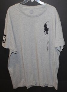 Polo-Ralph-Lauren-Big-Tall-Mens-1XB-Gray-Big-Pony-Crewneck-T-Shirt-NWT-Size-1XB