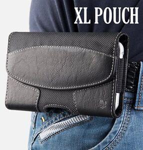 for-XL-LARGE-Phones-BLACK-Suede-Pouch-Holder-Holster-Belt-Clip-Loop-Case-Cover