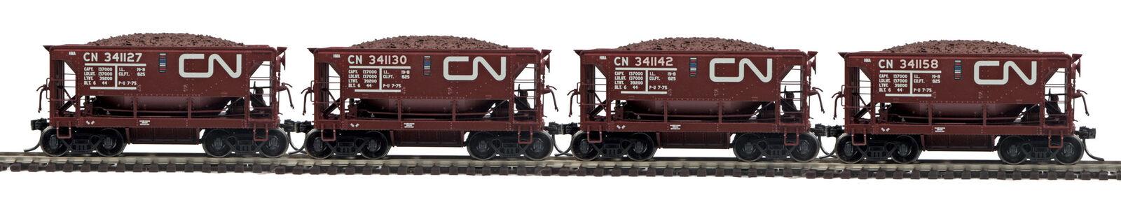MTH HO Trains Canadian National 4 Car Center Discharge Ore Car Set 80-90084