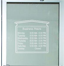 Decorative Business Store Hours Sign Vinyl Decal Sticker 17x18 Window Door Glass