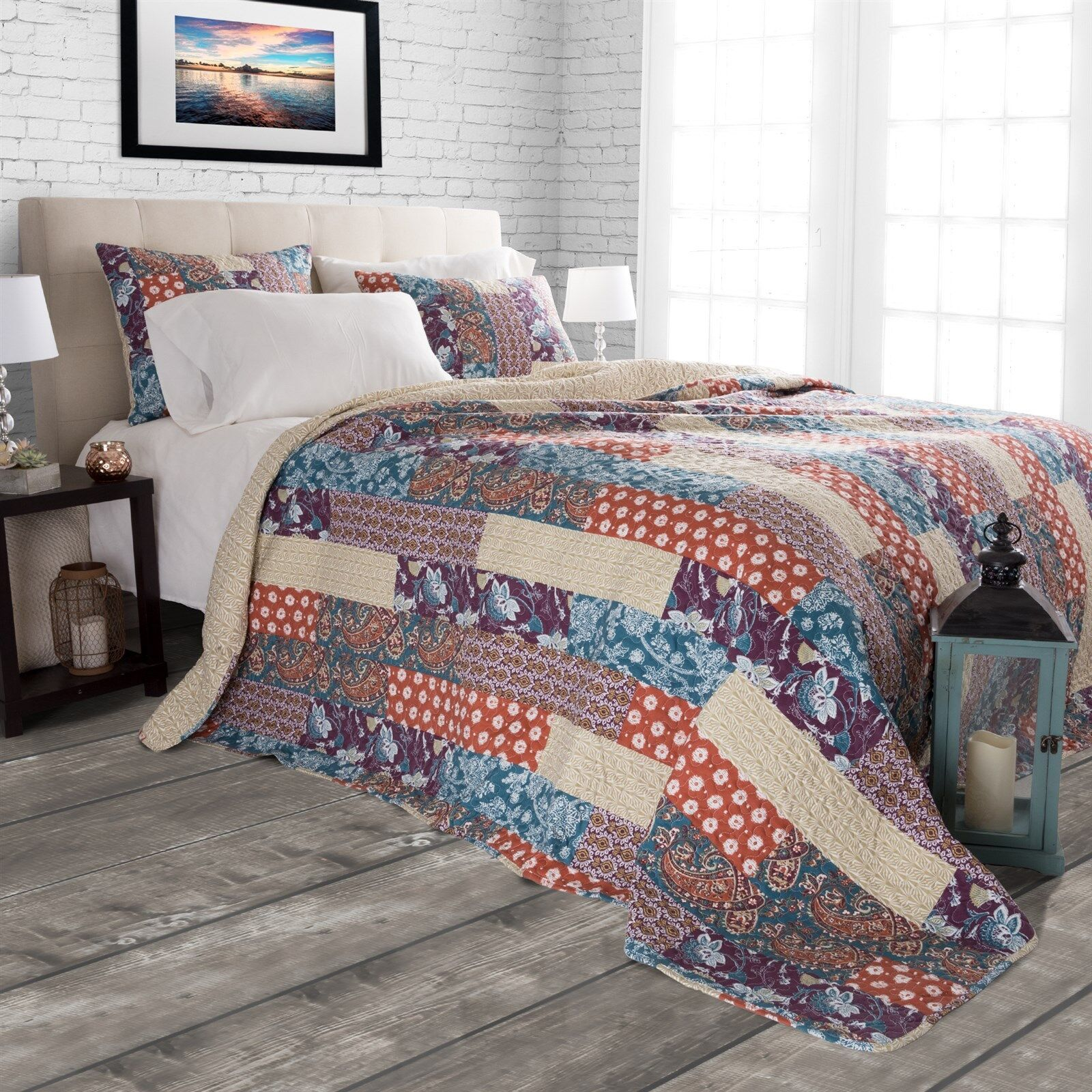 Floral Patchwork Rustic Quilted Blanket Bedspread Twin Queen King