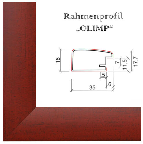E1 Picture Frame Olimp Red Wiped With Entspiegeltem Acrylic Glass