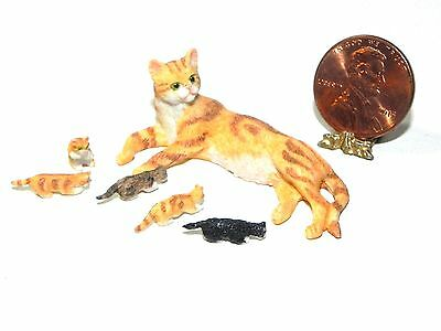 Dollhouse Miniature Cat Mom and 5 Kittens Orange Falcon Minis 1:12 Scale