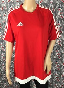 951122ce9 Adidas Men s Climalite Red W  Three White Stripes Soccer Jersey Top ...