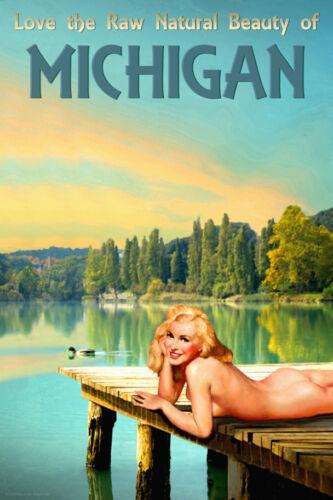 Michigan Lake Marilyn Monroe Pinup Wolverine State Travel Poster Art Print 294