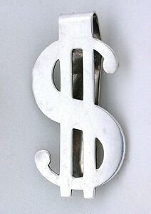1 9/10 x 1 Inch Dollar $ Sign Pure .925 Sterling Silver Money Clip EBS6694