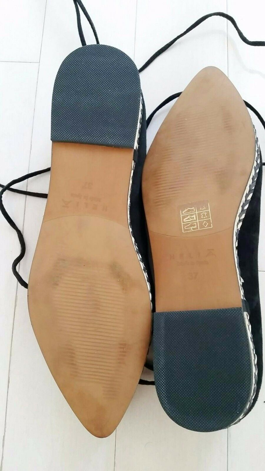 HELIA Made in Spain Pointy BLACK SUEDE Flat ( Strap Schuhe Leder Upper ( Flat 37 ) fdf552