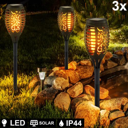 3x LED Außen Steck Lampe Feuer Effekt Erdspieß Leuchte schwarz Stanzung Solar