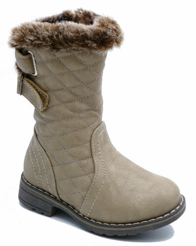 KIDS WARM WINTER FLEECE LINED BEIGE GIRLS FLAT BOOTS CHILDRENS INFANTS SHOES 5-8