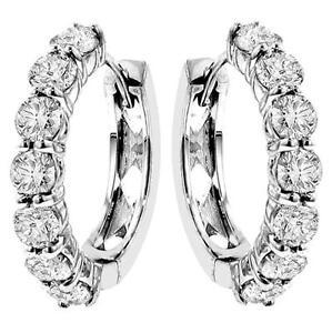 3-00-CT-TW-Large-Diamond-Hoop-Earrings-in-14k-White-Gold-G-SI-New