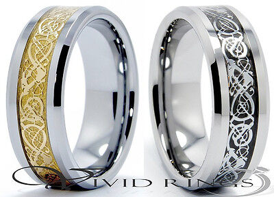 Mens Tungsten Carbide Celtic Dragon Inlay Ring - Size 7 to 14.5