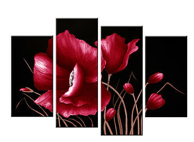 "4ft wide+ RED TONED FLORAL CANVAS ON BLACK 4 PANEL WALL ART PICTURES 51""x33""FY30"