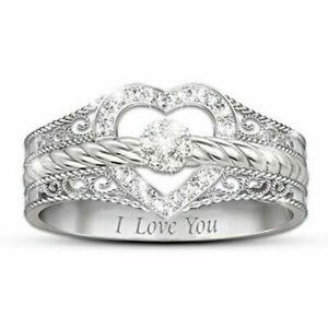 UK-Women-Fashion-925-Silver-Jewelry-White-Sapphire-Heart-Wedding-Ring-Size-6-10