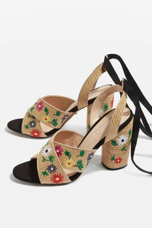 Topshop REENA Floral Embroidered Tie High Heel Sandals SIZE UK6 EUR39 US8.5