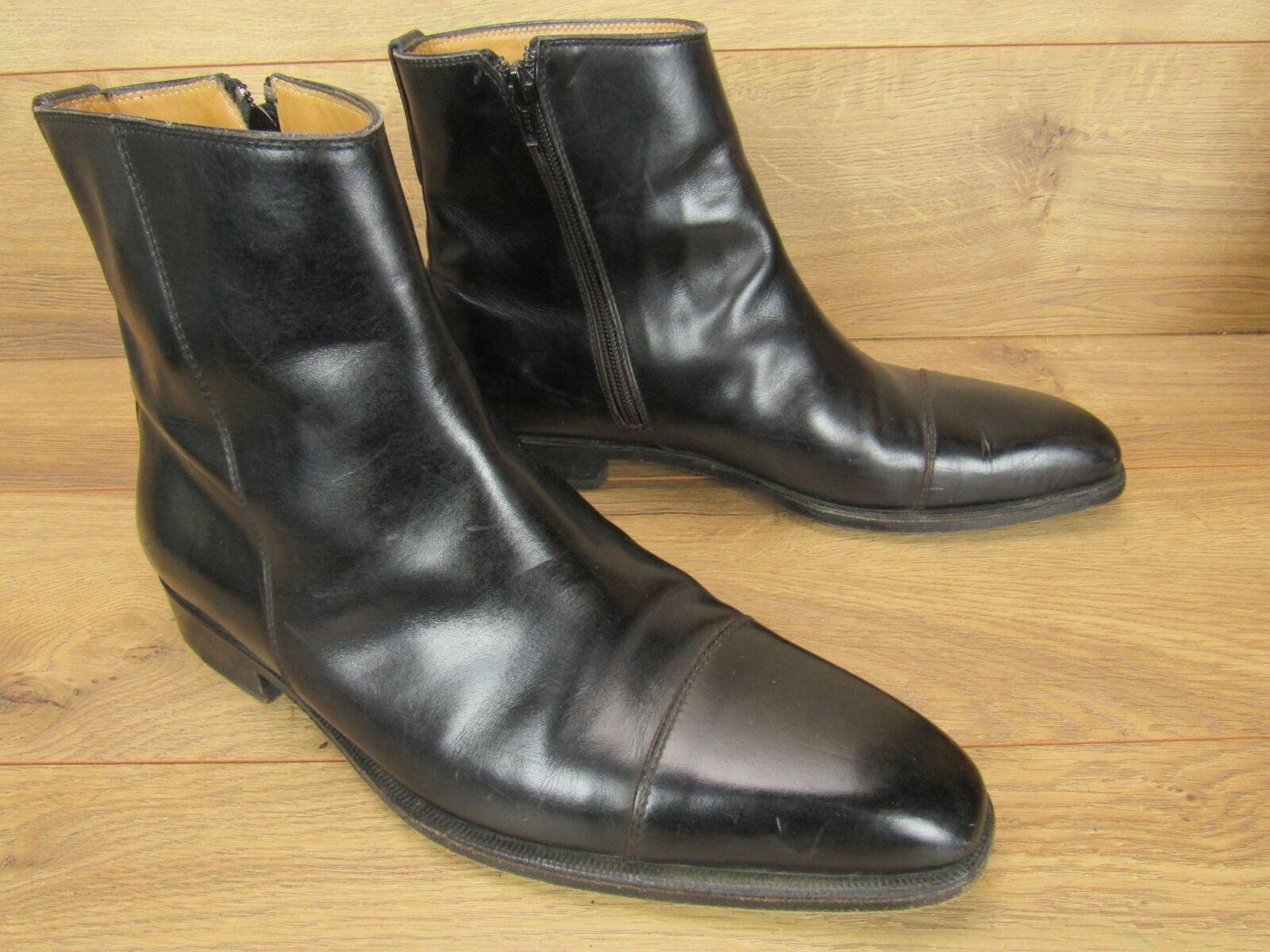 Sutor Mantellassi negro Cuero Cremallera botas para hombre