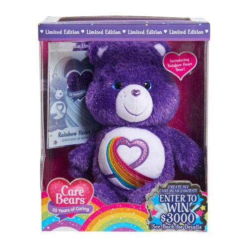 Care Bears 35th Anniversary Rainbow Heart Stuffed Bear Purple LIMITED EDITION