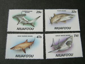 NIUAFO'OU 1987  SHARKS  SET of 4 STAMPS   SG 94-97  MINT NEVER HINGED