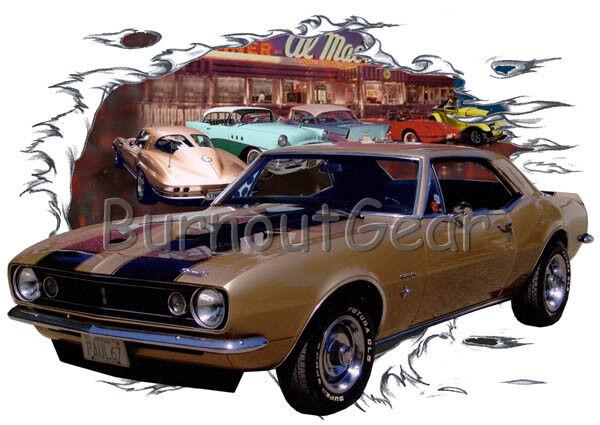 1967 Custom oro Chevy Camaro Custom 1967 Hot Rod Diner T-Shirt 67 Muscle Car Tees 2cd7b8