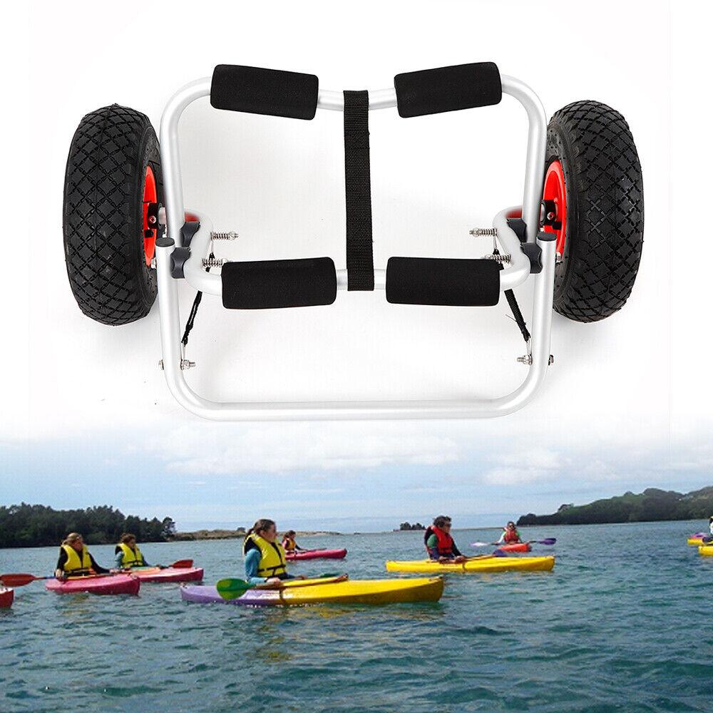Aluminum Kayak Canoe Boat Trolley Carrier Dolly Transport Cart Wheels Anti-slip