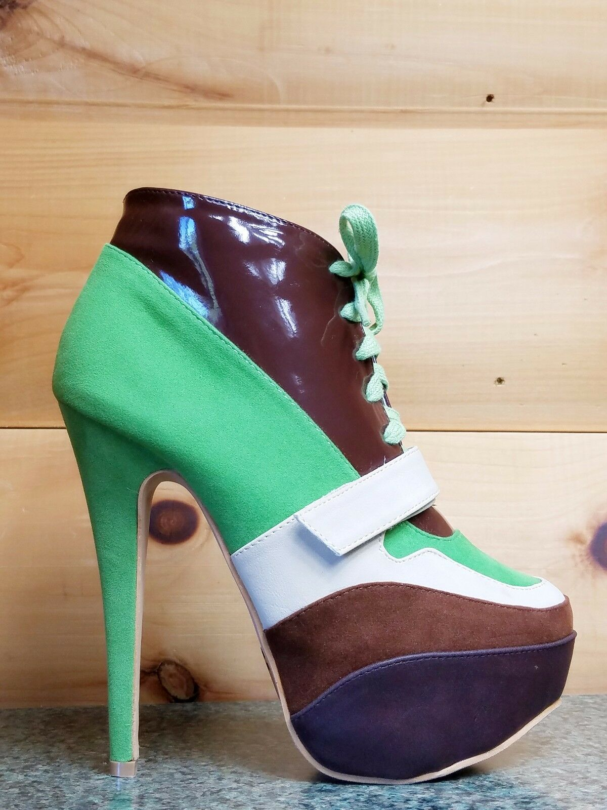 """Mona Mia 5"""" High Heel Sneaker Boot Lace Up Front Multi Color Sizes 6-11 Green"""
