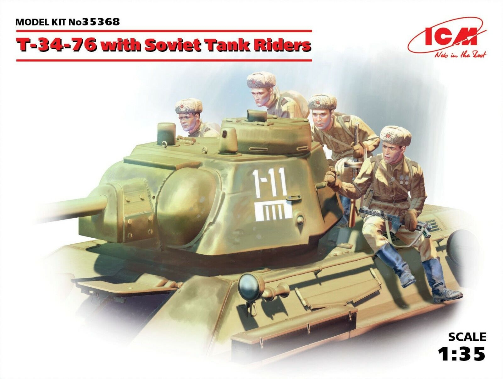 ICM 35368 T-34-76 with Soviet Tank Riders 1 35 scale model kit 190 mm