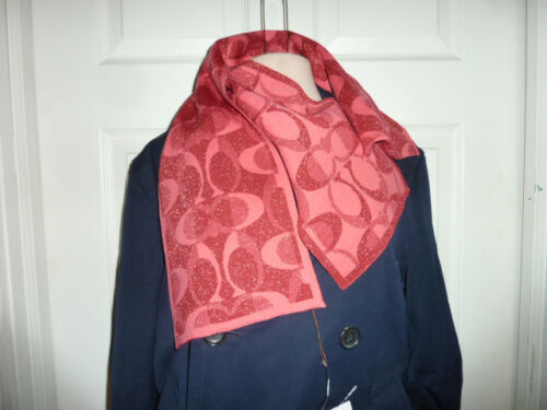 COACH 83834 Women/'s $98 Tonal Dream C Knit Wool Cashmere Scarf Pink//Scarlet NWT
