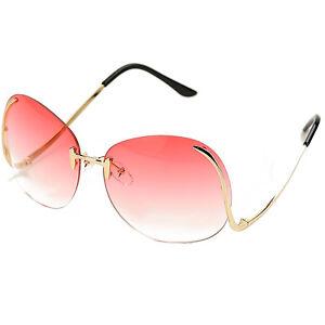 5b06f9bbc2 Image is loading Vintage-Oversized-Rose-Gold-Sunglasses-Rimless-salma-Round-