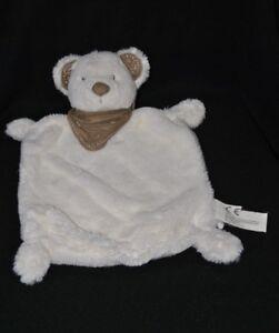Peluche-doudou-ours-plat-blanc-NICOTOY-banadana-brun-marron-30-cm-TTBE