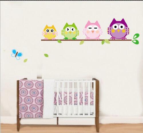 Cuatro Mochuelos Mariposa Bebé Vivero Hogar calcomanía de pegatinas de pared Vinilo Decoración