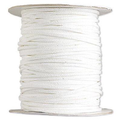 Necklace Bracelet Cord, Vegan Faux Leather, Suede Lace, White, 30 ft