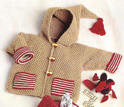 Easy Beginner Baby Jacket with Pockets & Hood DK Knitting Pattern 3 ~ 18 mths
