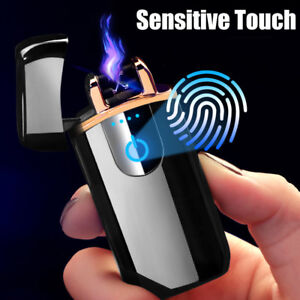 Electric-USB-Rechargeable-Dual-Arc-Plasma-Windproof-Flameless-Cigarette-Lighter