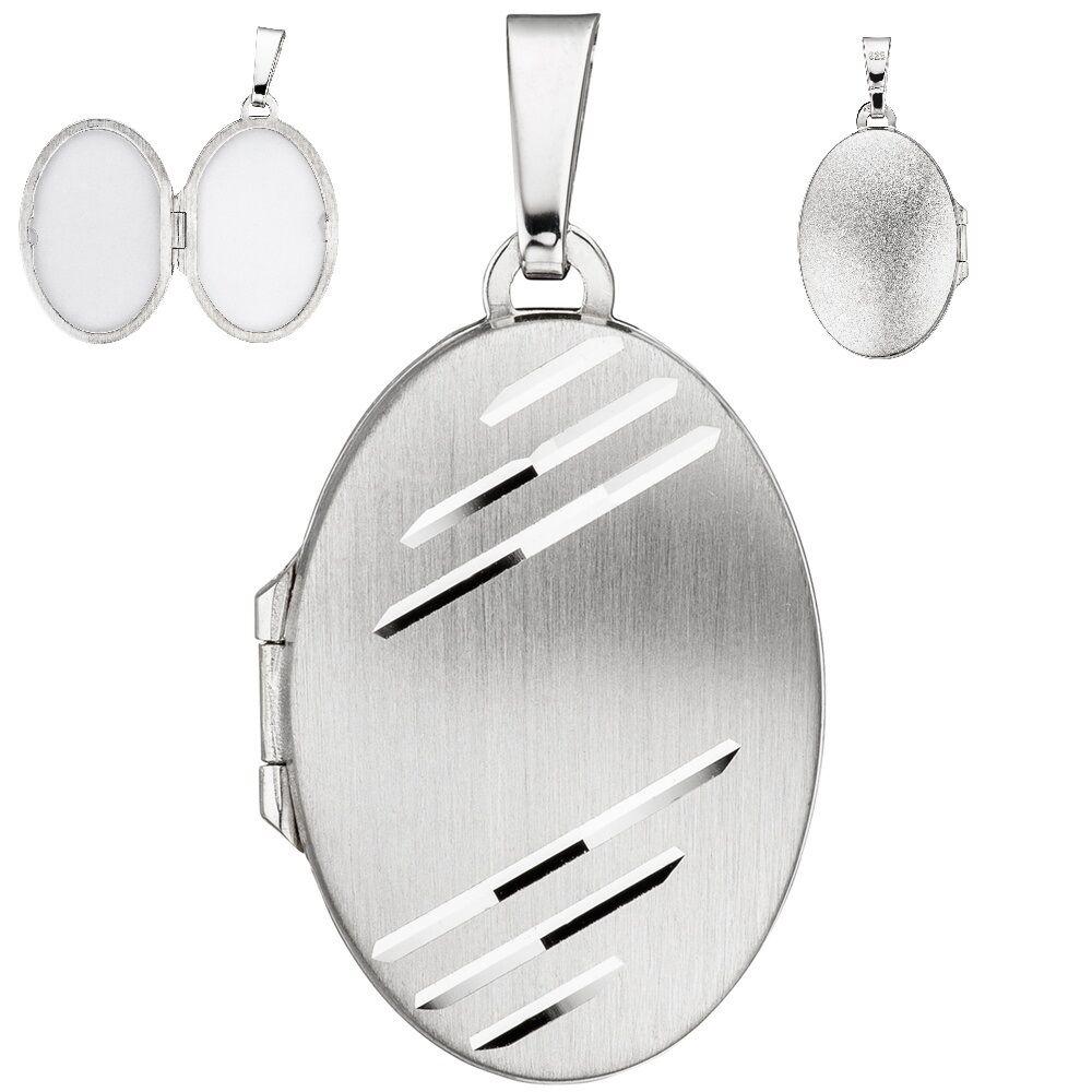 Medaglione 925 amuleto OVALE 2 foto in puro argentoo MATT MATT MATT medalion Medallion 9fce24