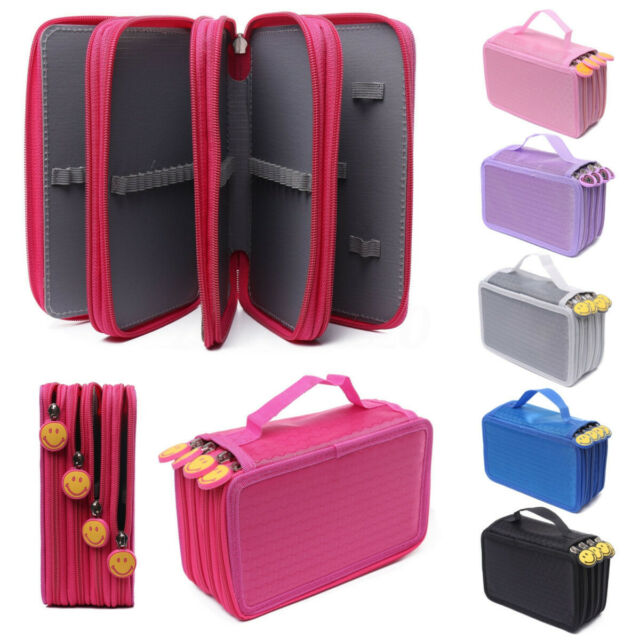 High Capacity 4 Layer Box Stationary Pen Pouch Bag Makeup Storage Pencil Case l