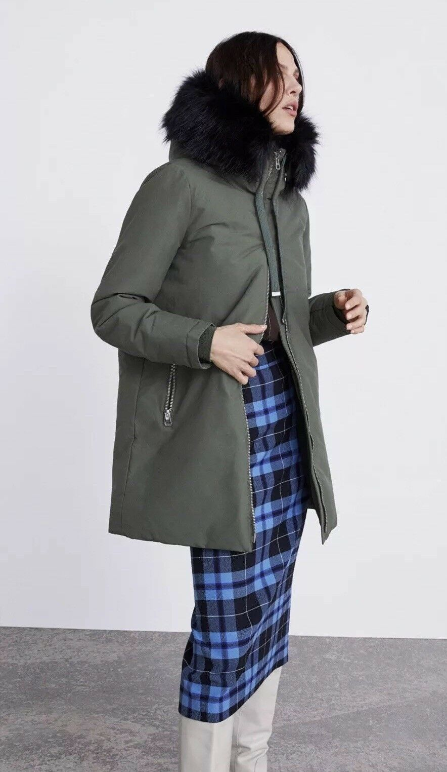 Zara Khaki Water Repellent Quilted Parka Coat Size S Bnwt