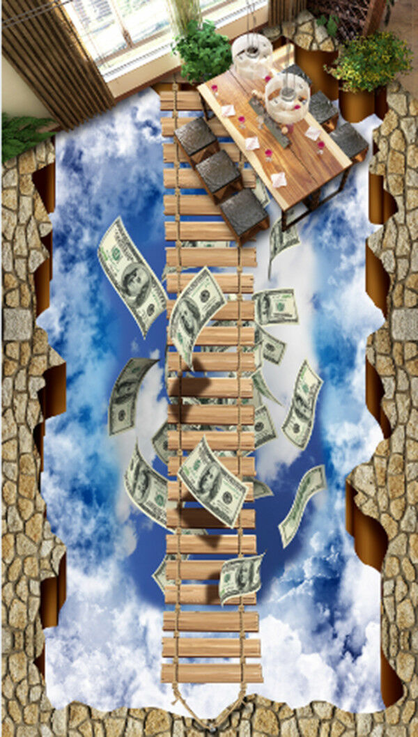 3D Ladder Money 84 Floor WallPaper Murals Wall Print Decal AJ WALLPAPER US Carly