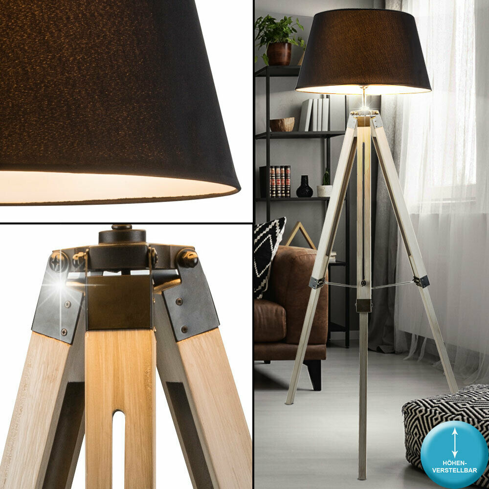 Stand Lampe Ess Zimmer Holz Stativ Decken Fluter Textil Leuchte verstellbar