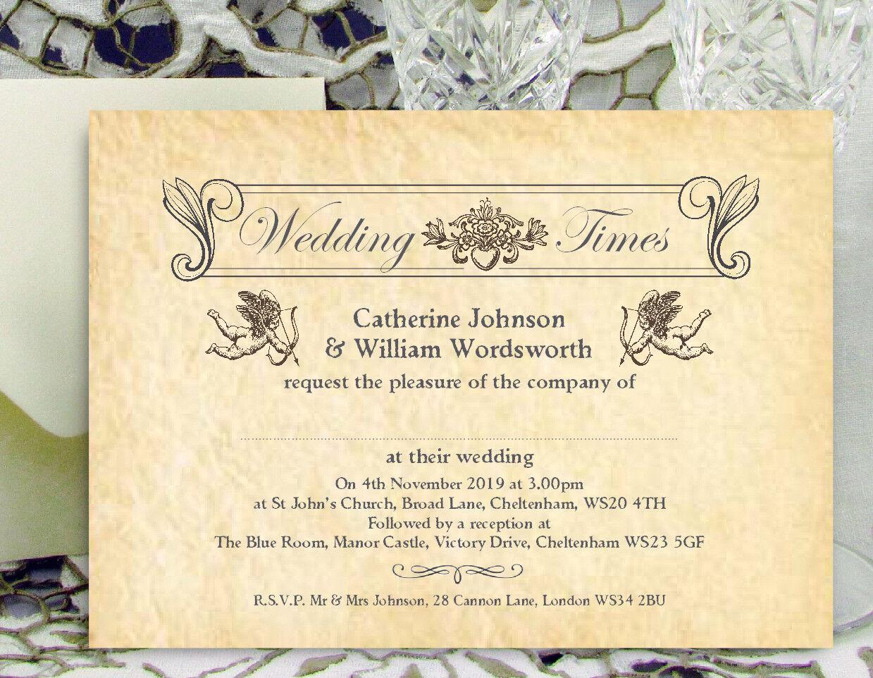 Personnalisé mariage invitations vintage journal design avec enveloppes