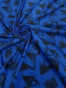 4 Metres Light Blue Cherry Print Spun Poly Stretch Fabric