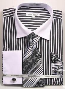 f86da1e9 Men's Daniel Ellissa Striped Black/White Dress Shirt French Cuffs ...
