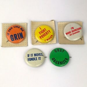 Vintage-Pins-Lot-Buttons-Pinback-Funny-Vulgar-Adult-Retro-1960s-1970s