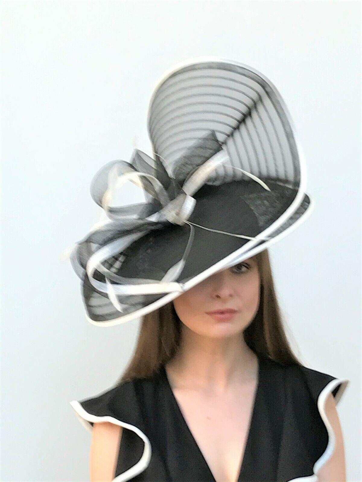 Black & White Hatinator / Fascinator - Wedding, Ascot, Races