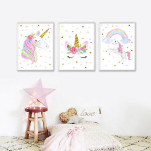 cute unicorn rainbow canvas poster nursery wall art canvas print