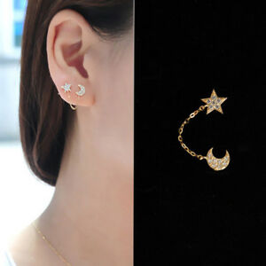 66d3a460c1d7 Moda Pendientes de Oro En Forma De Luna Estrellas de Cristal Para ...