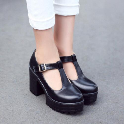 Womens Gothic Chunky Heels High Platform Mary Jane Ankle T-Strap Punk Shoes Chic