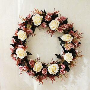 Hanging Artificial Rose Wreath Silk Ribbon Flowers Garland Home Wedding Decor